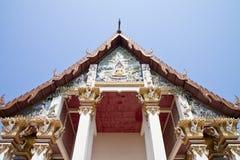 Giebeldach der siamesischen Kirche. Stockfotos