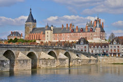 Gien, France - april 5 2015 : the bridge and the city on. Loire river Stock Images