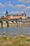 Gien, France - april 5 2015 : the bridge and the city on. Loire river Stock Photo