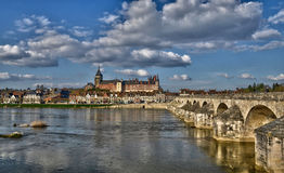 Gien, France - april 5 2015 : the bridge and the city on Stock Images