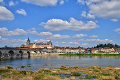 Gien, France - april 5 2015 : the bridge and the city on. Loire river Stock Image