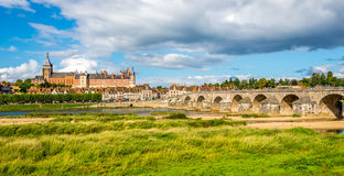 Gien - view at the Olg bridge with city. France Royalty Free Stock Photography