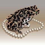 Gierige Kröte mit einer Perlenhalskette Stockbild