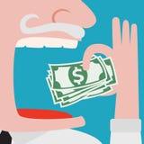 Gieriger Geschäftsmann, der grüne Bargelddollar isst Stockfoto