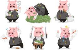 Gieriges Schweingeschäft reicher piggie Satz lizenzfreie abbildung