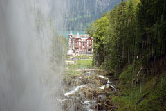 Giessbach Falls. And the hotel next to it stock photos