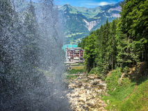 Giessbach Wasserfalle. And the hotel Royalty Free Stock Photo
