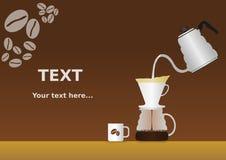 Giet over Koffieachtergrond Stock Foto's