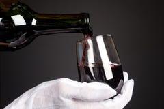 Gietend glas wijn Stock Afbeeldingen