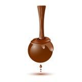 Gietende chocolade die hoogste, vloeibare bonbon in 3d druipen stock illustratie