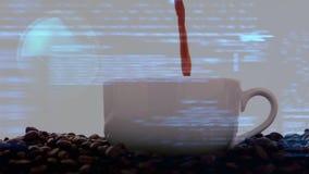 Gietende koffie met statistieken stock videobeelden
