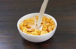 Gietende melk in cornflakes Royalty-vrije Stock Foto