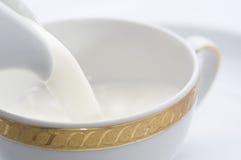 Gietende melk in kop Stock Afbeeldingen