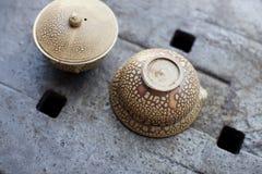 Gietende Theepot Snakeskin op een ceramisch dienblad Royalty-vrije Stock Foto