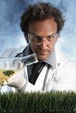 Gietende Vloeistof van de Wetenschapper van Smirking de Gekke Stock Foto