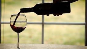 Gietende wijn in langzame motie stock videobeelden