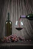 Gietende wijn met druiven Royalty-vrije Stock Fotografie