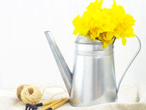 Gieter en gele bloemen stock afbeelding