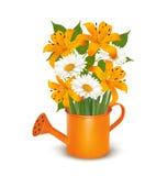 Gieter met een boeket van bloemen stock illustratie