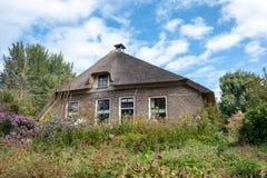 Giethoorn wioska z kanałami i wieśniacy pokrywającymi strzechą dachów domami w rolnym terenie zdjęcia stock