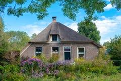 Giethoorn wioska z kanałami i wieśniacy pokrywającymi strzechą dachów domami w rolnym terenie zdjęcie stock