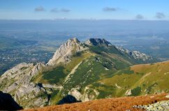 Giewont peak in Tatra mountains. View on the Giewont peak and Zakopane city at background in Polish Tatra Mountain royalty free stock photography