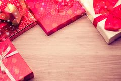 Gif box on table. Merry Christmas and Happy New Year, winter season. Gift box on table with copy space for text Royalty Free Stock Photos