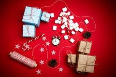 GIF de vintage de cannelle de branches de sapin de composition en nouvelle année de Noël Photo stock