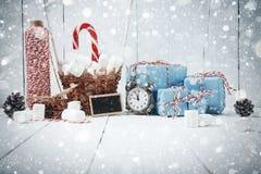 GIF de vintage de cannelle de branches de sapin de composition en nouvelle année de Noël Photos stock