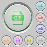 GIF file format push buttons. Set of color GIF file format sunk push buttons Royalty Free Stock Photos
