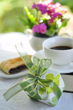 Gife and cup coffee Royalty Free Stock Image