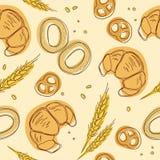 Giffel baglar, öra, sömlös modell för kringlor Tappningmatsymboler, bakgrund för s-weetbeståndsdelar för menyn, kafé shoppar Bage Royaltyfri Foto