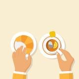 Giffel och kopp av varmt te med citronen royaltyfri illustrationer