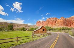 Gifford Barn by a road in Capitol Reef National Park. Royalty Free Stock Photography
