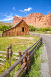 Gifford Barn by a road in Capitol Reef National Park, USA Stock Photos