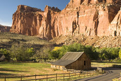 Gifford Farm. View of sandstone formations and Gifford farm along the scenic drive in Capital Reef National Park Royalty Free Stock Photography