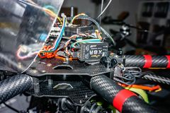 Gifhorn, Germany, December 9., 2016: Close-up of the electronic interior of a self-assembled large drone for camera flights and. Mapping stock images