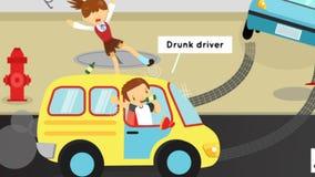 Gifographic Unfälle, Verletzungen, Gefahr und Sicherheit der Animationskarikatur warnen auf Verkehrsstraße durch Autos für Bildun stock abbildung