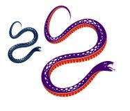 Gifslang uitstekende tatoegering, vectortekening van agressief roofdier reptiel, dodelijk vergiftigd serpentsymbool, uitstekende  stock illustratie