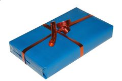 Gift. Blue gift package on white background royalty free stock images