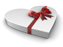Gift. Heart gift with satin bow Stock Photo