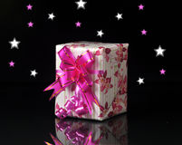 Gift. Box with decorative stars and flowers Stock Photo