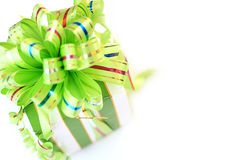 Gift. Ing box with bright green ribbon Royalty Free Stock Photo