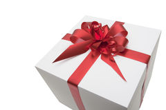 Gift. Box with red tape, isolated on  white background Stock Photo