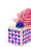 Gift. Box and pink rose; valentine's day Royalty Free Stock Images