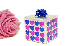 Gift. Box with pink rose isolated on white background Royalty Free Stock Photo