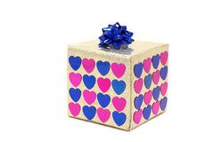 Gift. Box with hearts and bow; valentine's day Royalty Free Stock Photo
