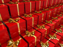 Gift. Red gifts stacked in pile Stock Photos