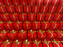 Gift. Red gifts stacked in pile Royalty Free Stock Images