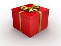 Gift. With golden bow isolated Stock Image